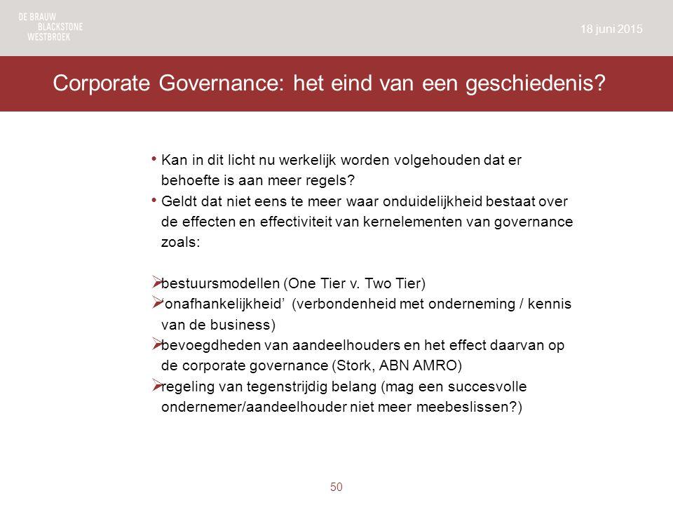 Corporate Governance: het eind van een geschiedenis.