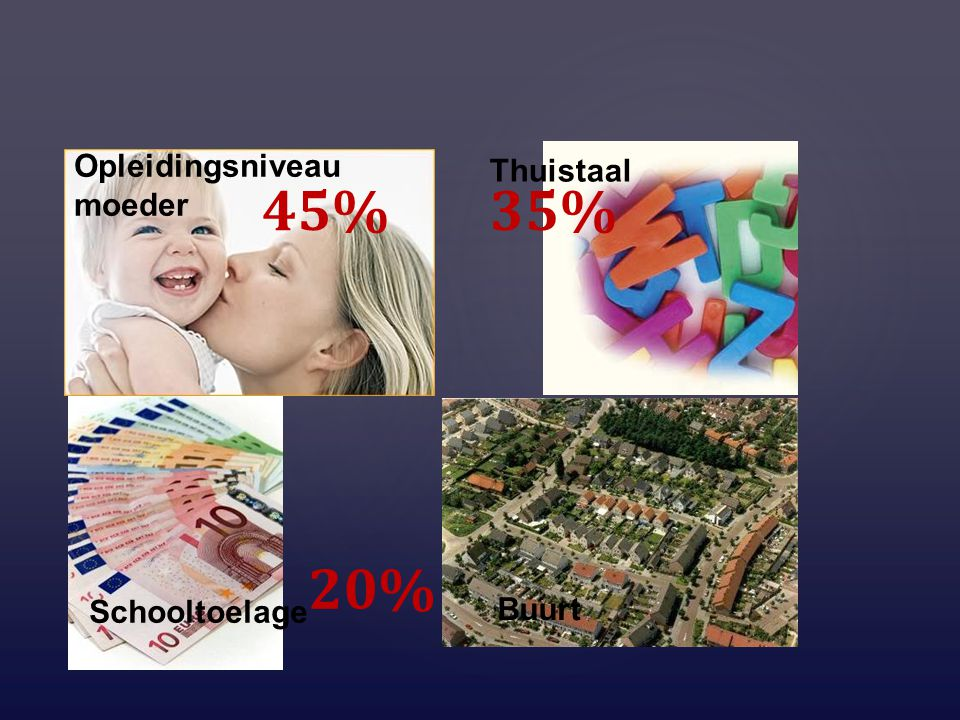 Opleidingsniveau moeder Thuistaal Schooltoelage Buurt 45%35% 20%