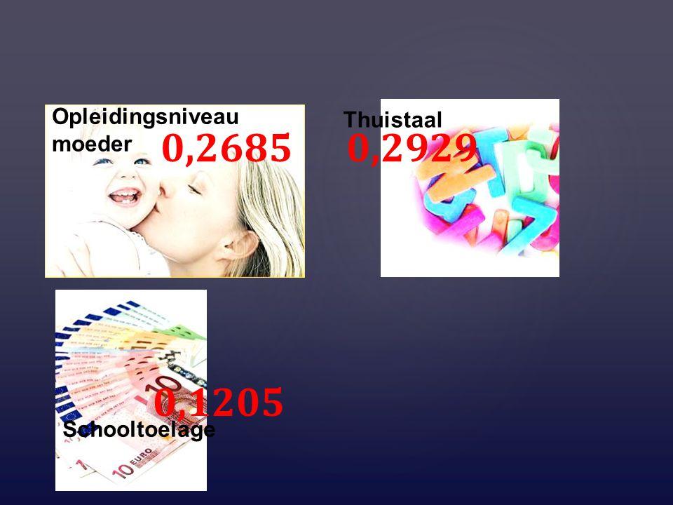Opleidingsniveau moeder Thuistaal Schooltoelage 0,2685 0,2929 0,1205