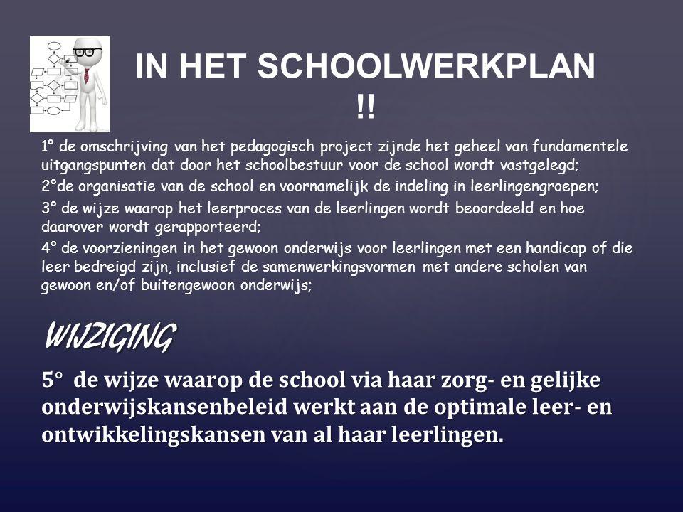 1° de omschrijving van het pedagogisch project zijnde het geheel van fundamentele uitgangspunten dat door het schoolbestuur voor de school wordt vastg