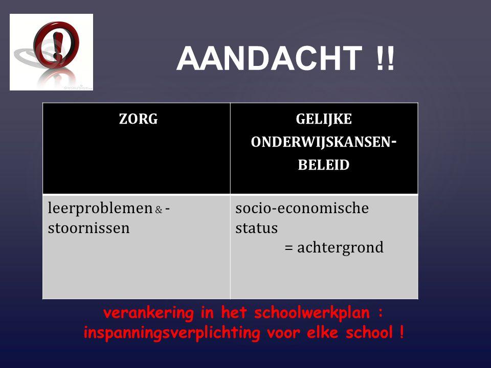 AANDACHT !! ZORGGELIJKE ONDERWIJSKANSEN - BELEID leerproblemen & - stoornissen socio-economische status = achtergrond verankering in het schoolwerkpla