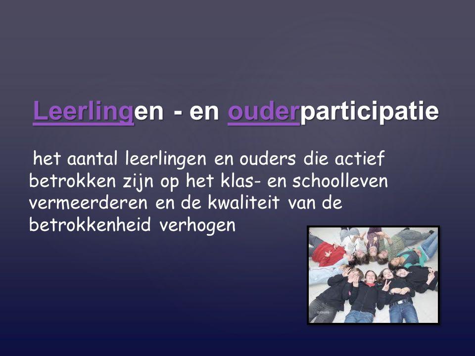 Leerlingen - en ouderparticipatie Leerlingen - en ouderparticipatie het aantal leerlingen en ouders die actief betrokken zijn op het klas- en schoolle