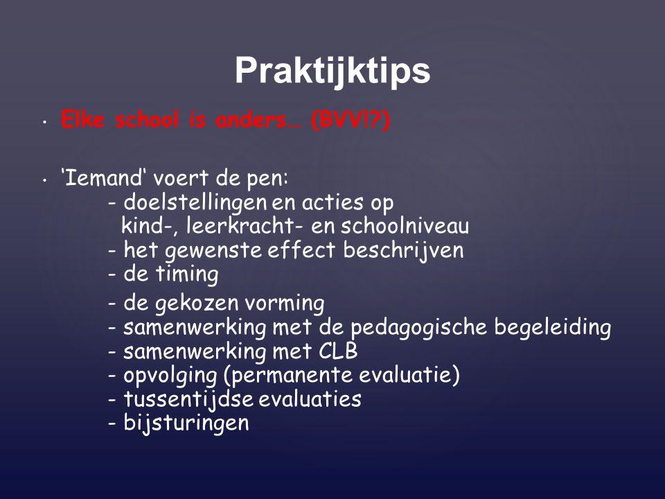 Elke school is anders… (BVV!?) 'Iemand' voert de pen: - doelstellingen en acties op kind-, leerkracht- en schoolniveau - het gewenste effect beschrijv