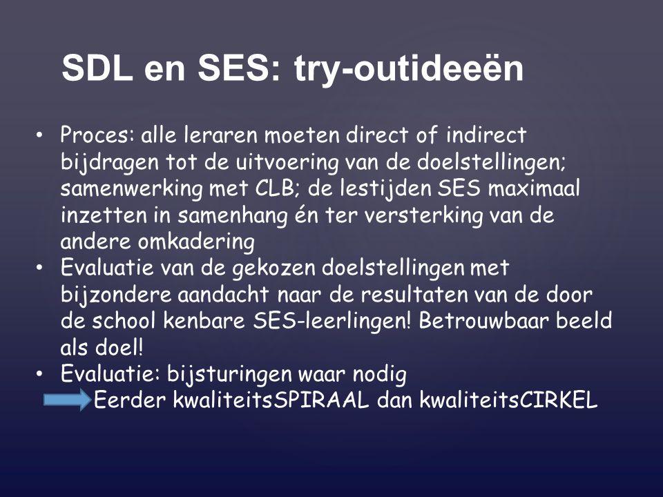 SDL en SES: try-outideeën Proces: alle leraren moeten direct of indirect bijdragen tot de uitvoering van de doelstellingen; samenwerking met CLB; de l