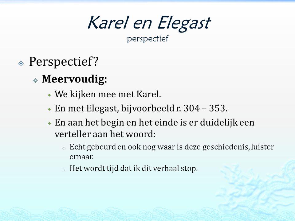 Karel en Elegast perspectief  Perspectief. Meervoudig:  We kijken mee met Karel.