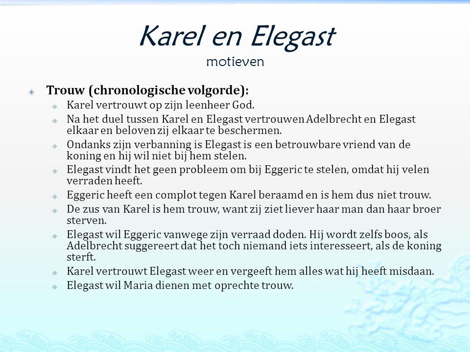 Karel en Elegast motieven  Trouw (chronologische volgorde):  Karel vertrouwt op zijn leenheer God.
