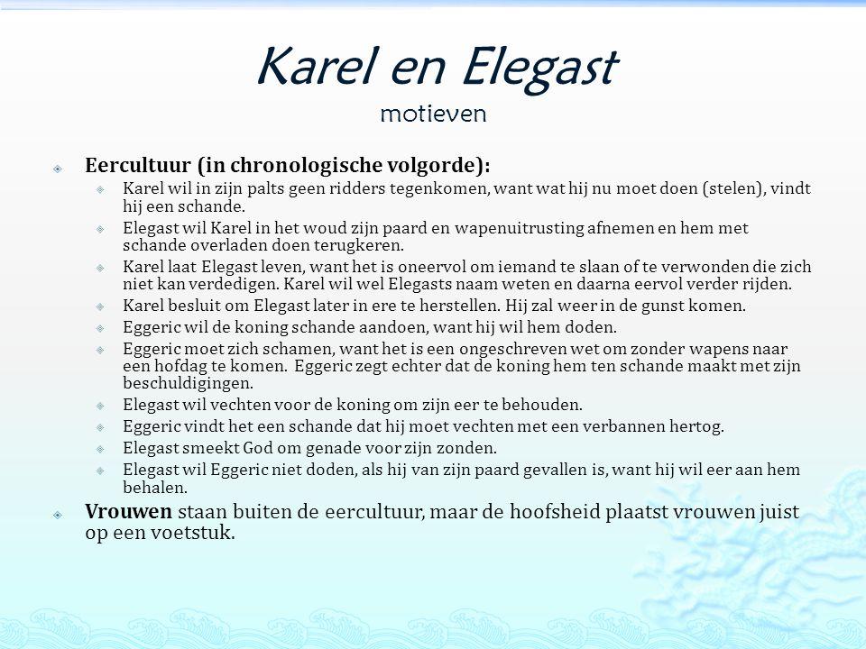 Karel en Elegast motieven  Eercultuur (in chronologische volgorde):  Karel wil in zijn palts geen ridders tegenkomen, want wat hij nu moet doen (stelen), vindt hij een schande.