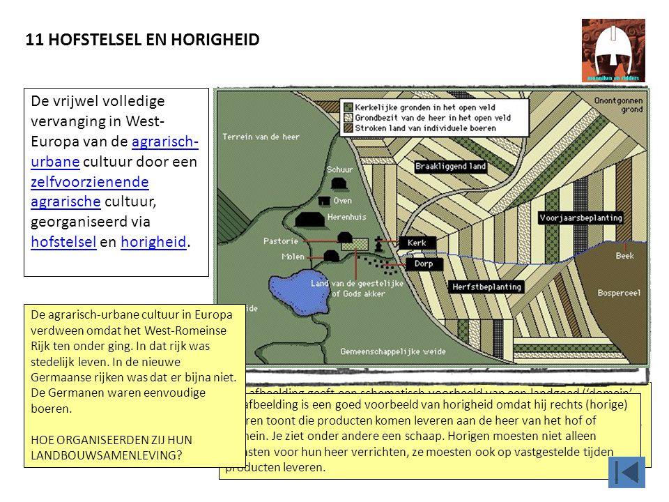 11 HOFSTELSEL EN HORIGHEID Deze afbeelding geeft een schematisch voorbeeld van een landgoed ('domein' of 'hof'). Je ziet een dorp voor de horigen, akk