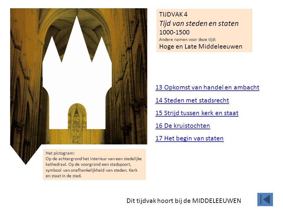 TIJDVAK 4 Tijd van steden en staten 1000-1500 Andere namen voor deze tijd: Hoge en Late Middeleeuwen 13 Opkomst van handel en ambacht 14 Steden met st