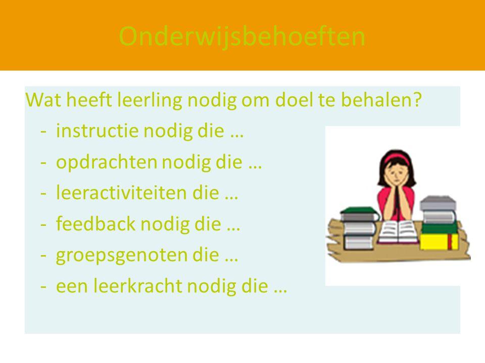 Onderwijsbehoeften Wat heeft leerling nodig om doel te behalen? -instructie nodig die … -opdrachten nodig die … -leeractiviteiten die … -feedback nodi