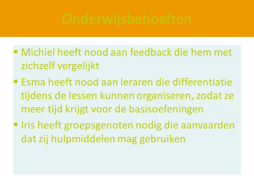 Onderwijsbehoeften  Michiel heeft nood aan feedback die hem met zichzelf vergelijkt  Esma heeft nood aan leraren die differentiatie tijdens de lesse