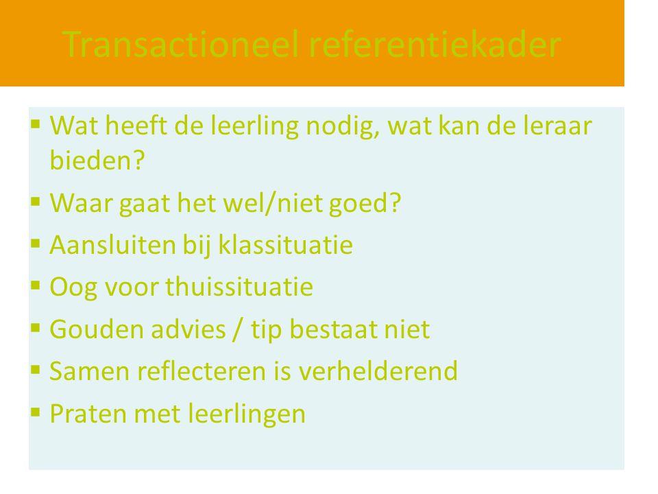 Transactioneel referentiekader  Wat heeft de leerling nodig, wat kan de leraar bieden?  Waar gaat het wel/niet goed?  Aansluiten bij klassituatie 