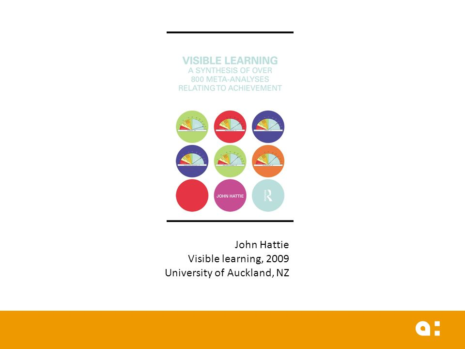 John Hattie Visible learning, 2009 University of Auckland, NZ