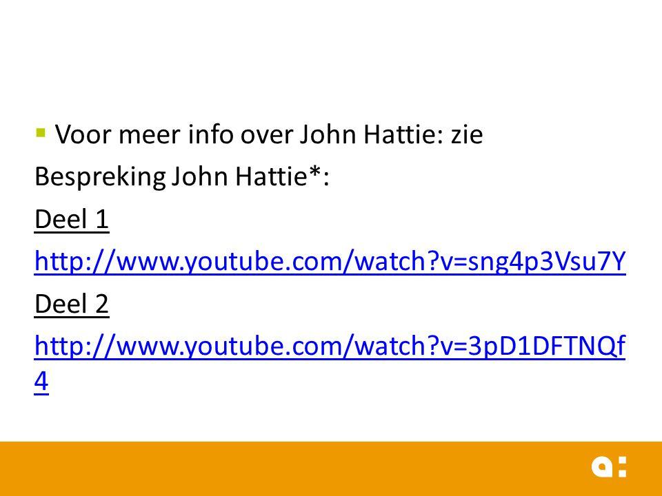  Voor meer info over John Hattie: zie Bespreking John Hattie*: Deel 1 http://www.youtube.com/watch?v=sng4p3Vsu7Y Deel 2 http://www.youtube.com/watch?