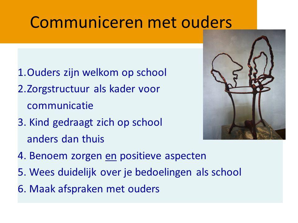 Communiceren met ouders 1.Ouders zijn welkom op school 2.Zorgstructuur als kader voor communicatie 3. Kind gedraagt zich op school anders dan thuis 4.