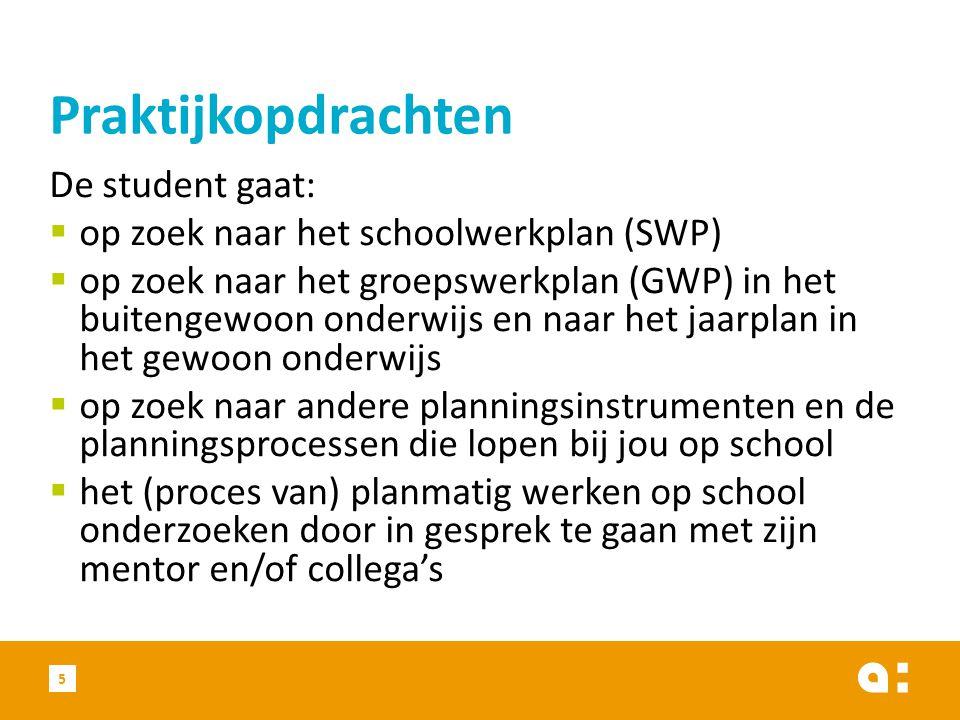 De student gaat:  op zoek naar het schoolwerkplan (SWP)  op zoek naar het groepswerkplan (GWP) in het buitengewoon onderwijs en naar het jaarplan in