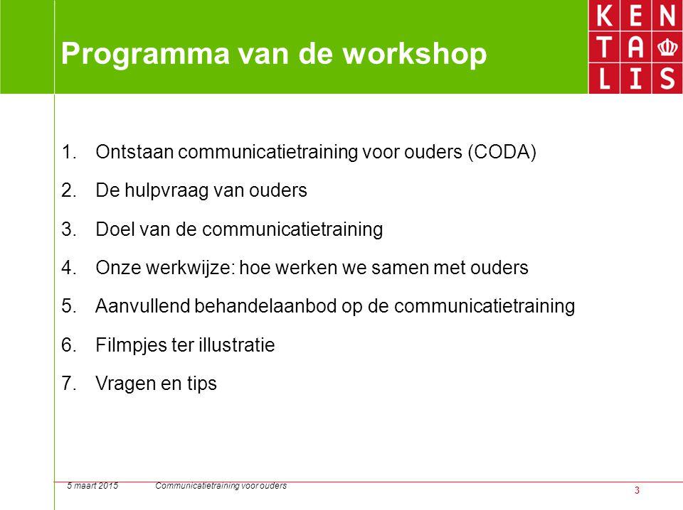 3 Programma van de workshop 1.Ontstaan communicatietraining voor ouders (CODA) 2.De hulpvraag van ouders 3.Doel van de communicatietraining 4.Onze wer