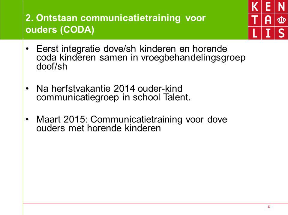 4 2. Ontstaan communicatietraining voor ouders (CODA) Eerst integratie dove/sh kinderen en horende coda kinderen samen in vroegbehandelingsgroep doof/