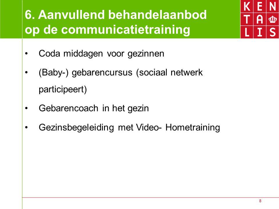 8 6. Aanvullend behandelaanbod op de communicatietraining Coda middagen voor gezinnen (Baby-) gebarencursus (sociaal netwerk participeert) Gebarencoac