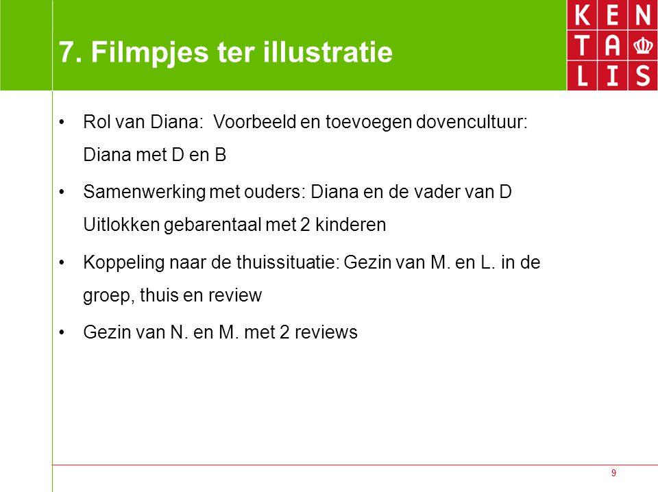 9 7. Filmpjes ter illustratie Rol van Diana: Voorbeeld en toevoegen dovencultuur: Diana met D en B Samenwerking met ouders: Diana en de vader van D Ui