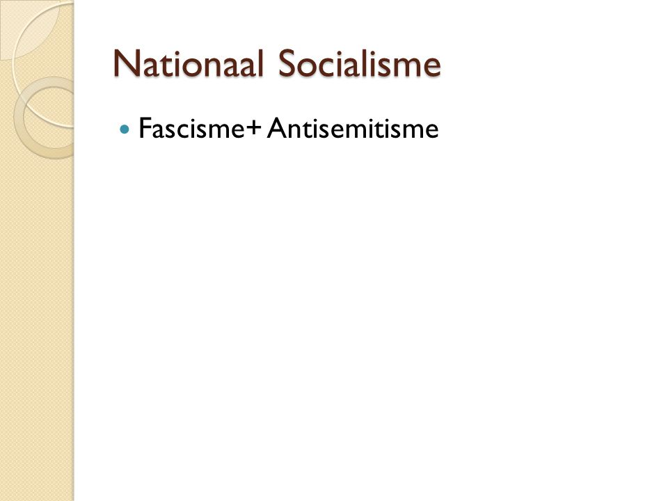 Nationaal Socialisme Fascisme+ Antisemitisme