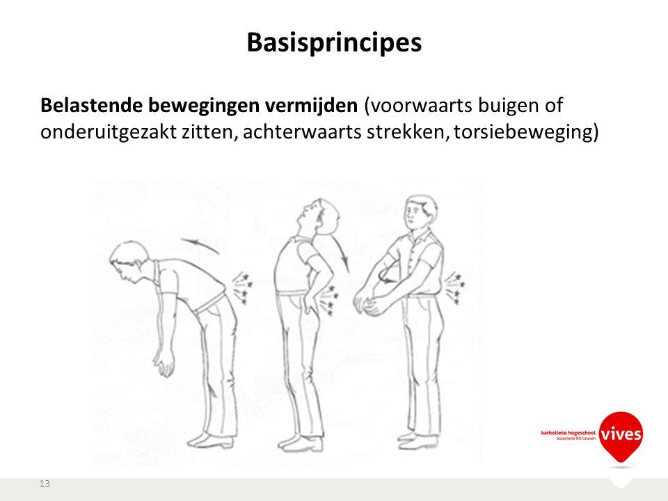 Basisprincipes 13 Belastende bewegingen vermijden (voorwaarts buigen of onderuitgezakt zitten, achterwaarts strekken, torsiebeweging)