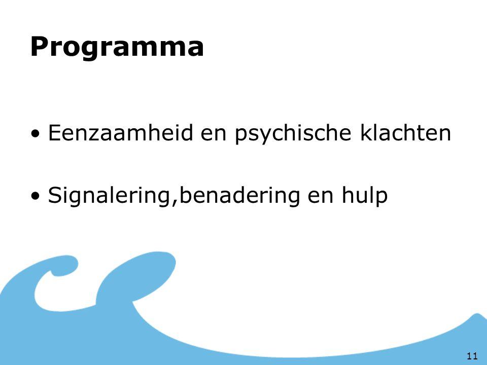 Programma Eenzaamheid en psychische klachten Signalering,benadering en hulp 11