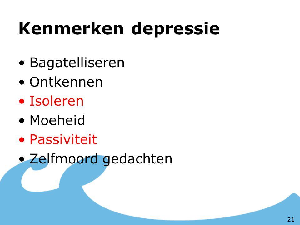 Kenmerken depressie Bagatelliseren Ontkennen Isoleren Moeheid Passiviteit Zelfmoord gedachten 21