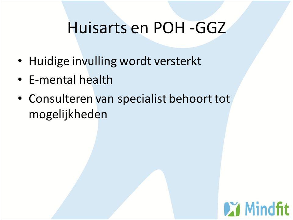 Huisarts en POH -GGZ Huidige invulling wordt versterkt E-mental health Consulteren van specialist behoort tot mogelijkheden