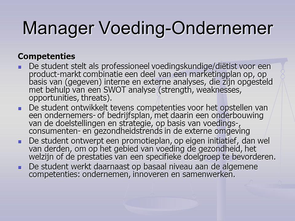 Manager Voeding-Ondernemer Competenties De student stelt als professioneel voedingskundige/diëtist voor een product-markt combinatie een deel van een