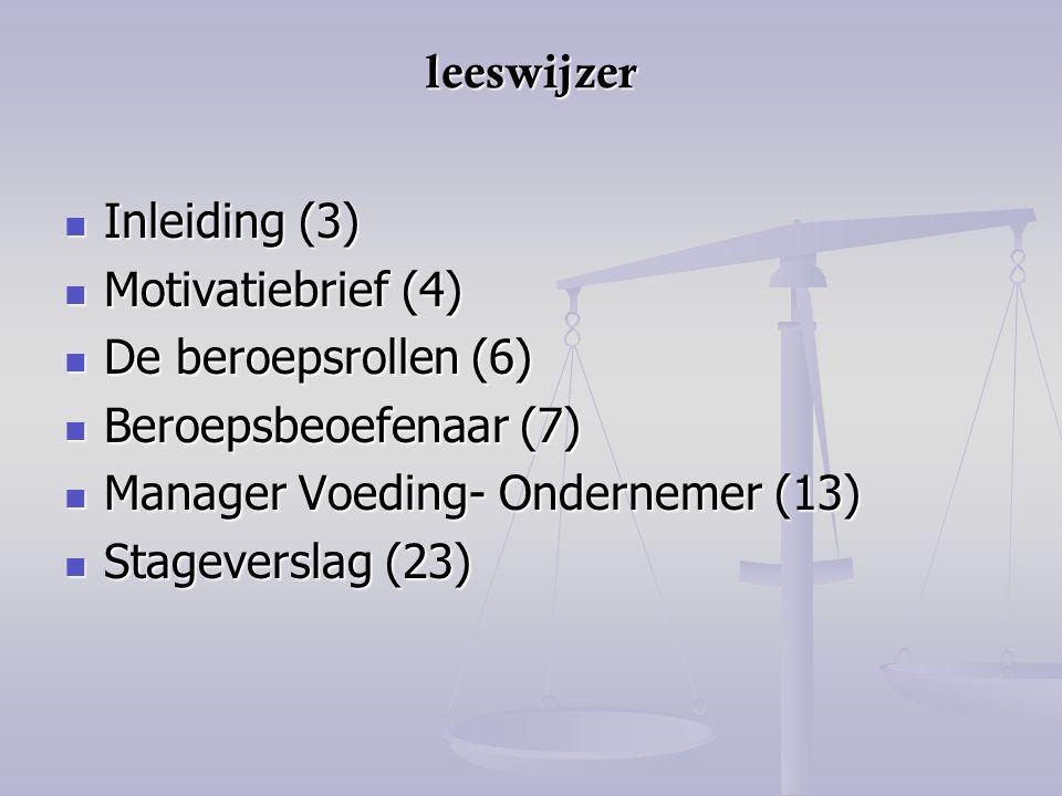leeswijzer Inleiding (3) Inleiding (3) Motivatiebrief (4) Motivatiebrief (4) De beroepsrollen (6) De beroepsrollen (6) Beroepsbeoefenaar (7) Beroepsbe