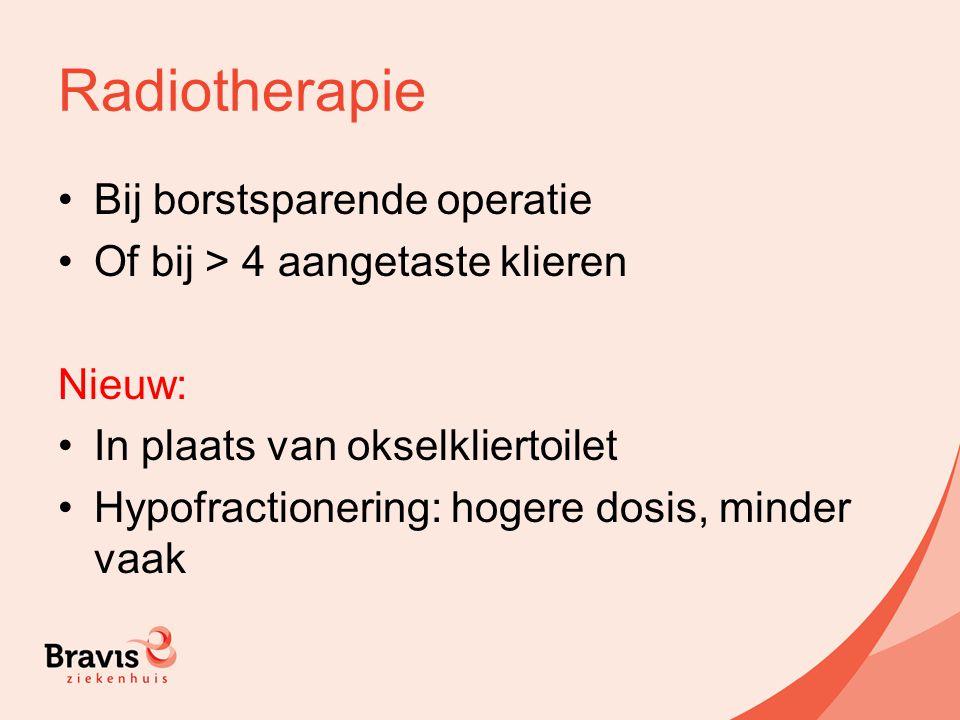 Radiotherapie Bij borstsparende operatie Of bij > 4 aangetaste klieren Nieuw: In plaats van okselkliertoilet Hypofractionering: hogere dosis, minder v