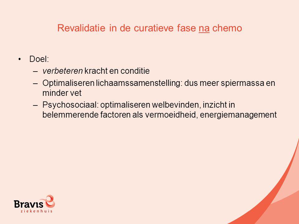 Revalidatie in de curatieve fase na chemo Doel: –verbeteren kracht en conditie –Optimaliseren lichaamssamenstelling: dus meer spiermassa en minder vet