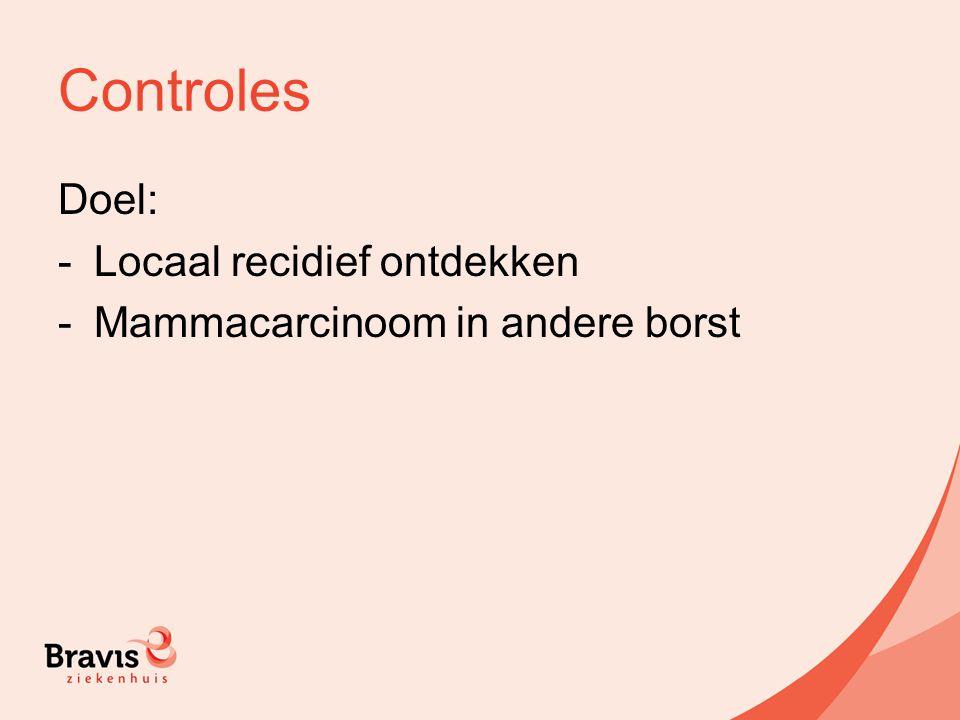 Controles Doel: -Locaal recidief ontdekken -Mammacarcinoom in andere borst