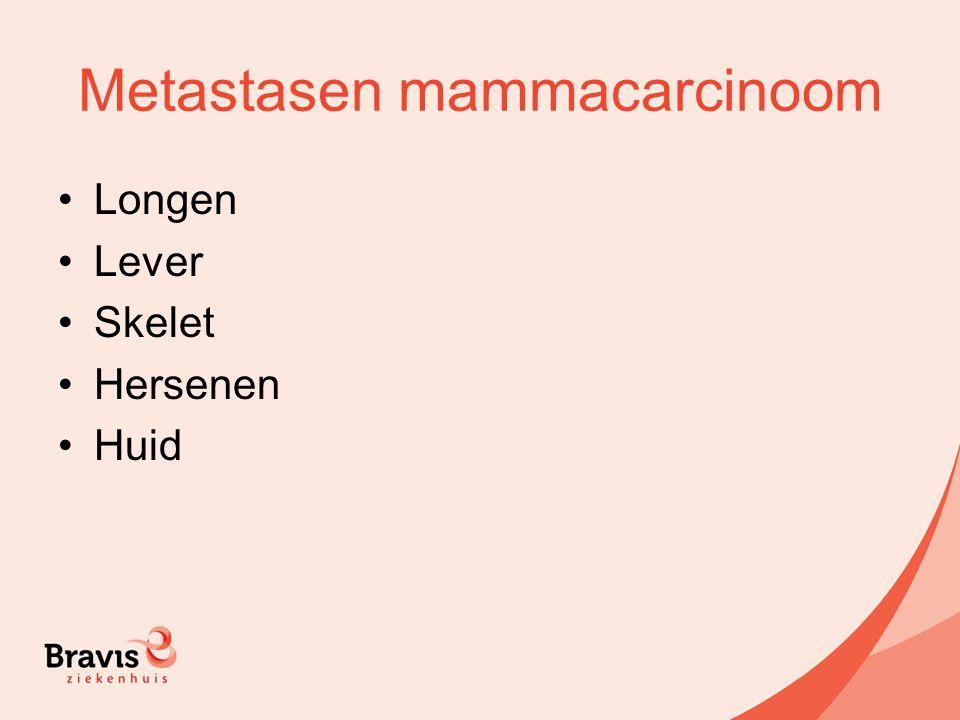 Metastasen mammacarcinoom Longen Lever Skelet Hersenen Huid
