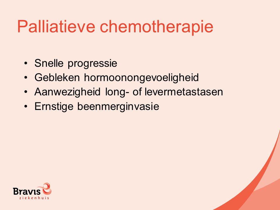 Palliatieve chemotherapie Snelle progressie Gebleken hormoonongevoeligheid Aanwezigheid long- of levermetastasen Ernstige beenmerginvasie
