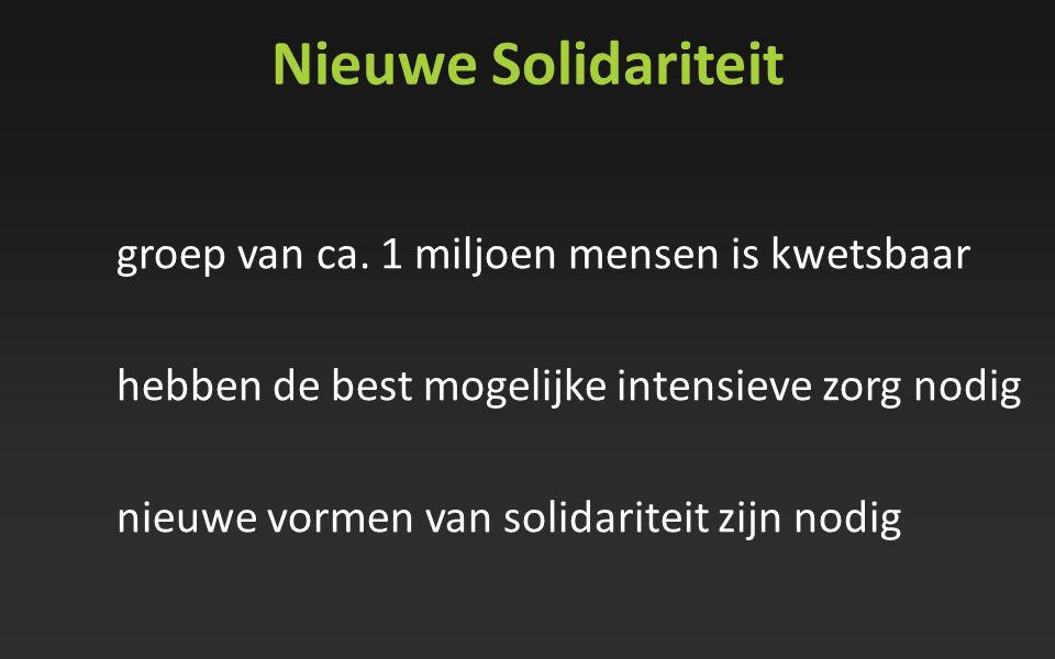 Nieuwe Solidariteit groep van ca. 1 miljoen mensen is kwetsbaar hebben de best mogelijke intensieve zorg nodig nieuwe vormen van solidariteit zijn nod