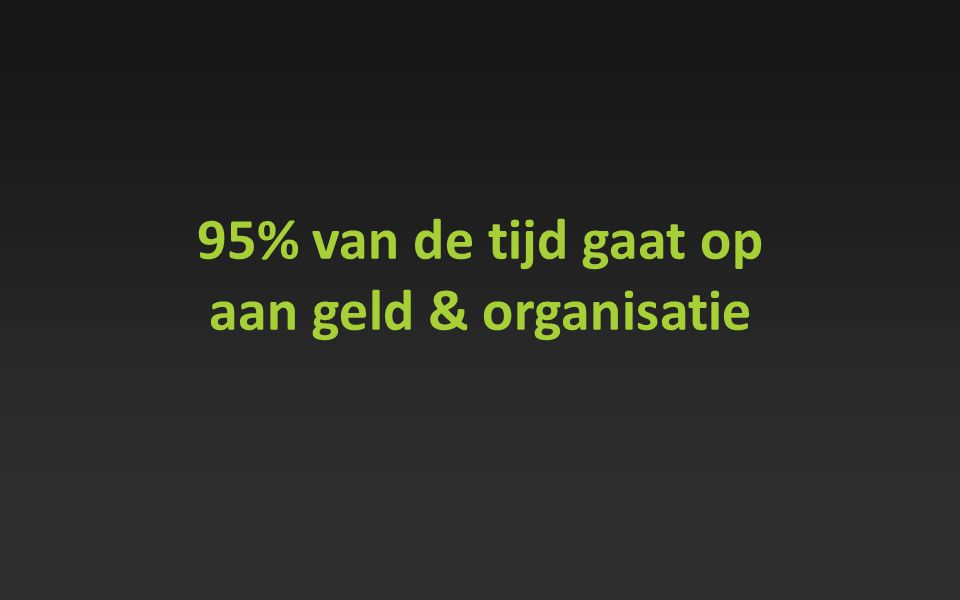 95% van de tijd gaat op aan geld & organisatie