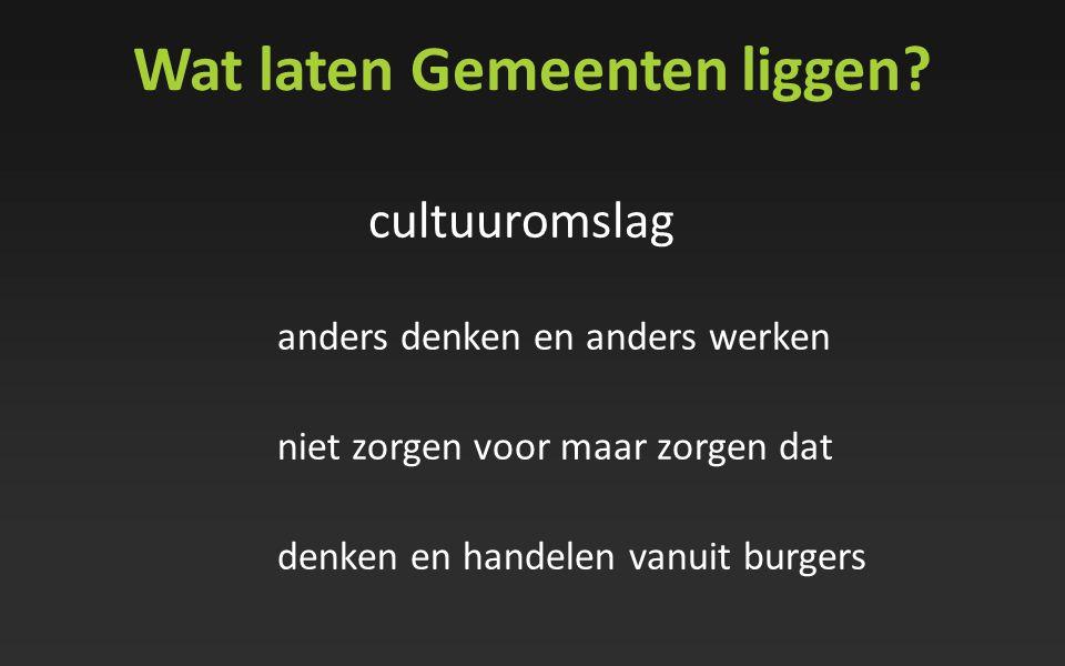Wat laten Gemeenten liggen? cultuuromslag anders denken en anders werken niet zorgen voor maar zorgen dat denken en handelen vanuit burgers