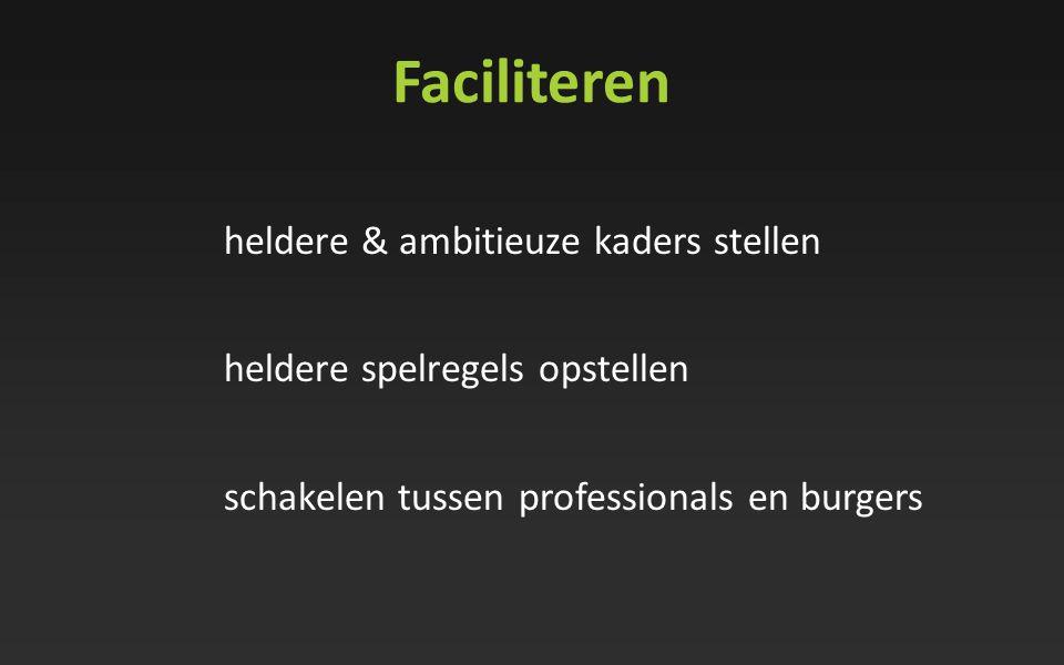 Faciliteren heldere & ambitieuze kaders stellen heldere spelregels opstellen schakelen tussen professionals en burgers