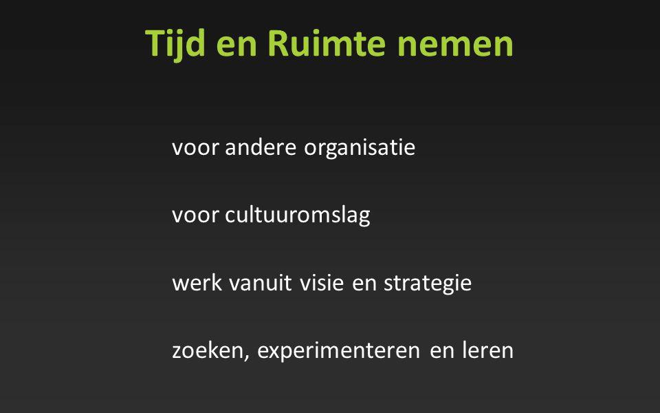 Tijd en Ruimte nemen voor andere organisatie voor cultuuromslag werk vanuit visie en strategie zoeken, experimenteren en leren