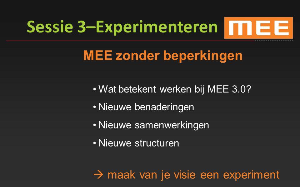 Sessie 3–Experimenteren MEE zonder beperkingen Wat betekent werken bij MEE 3.0? Nieuwe benaderingen Nieuwe samenwerkingen Nieuwe structuren  maak van