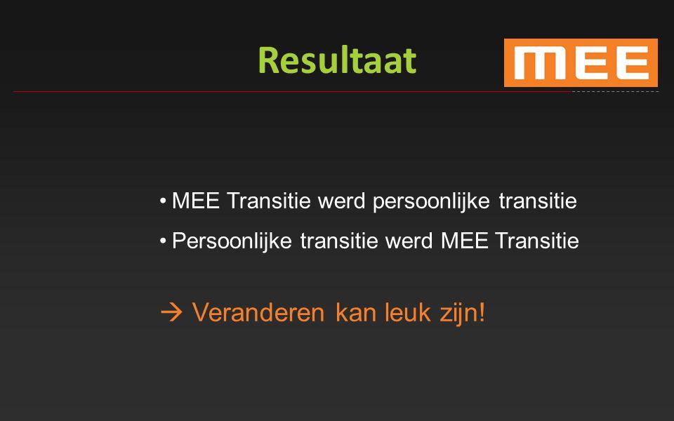 Resultaat MEE Transitie werd persoonlijke transitie Persoonlijke transitie werd MEE Transitie  Veranderen kan leuk zijn!
