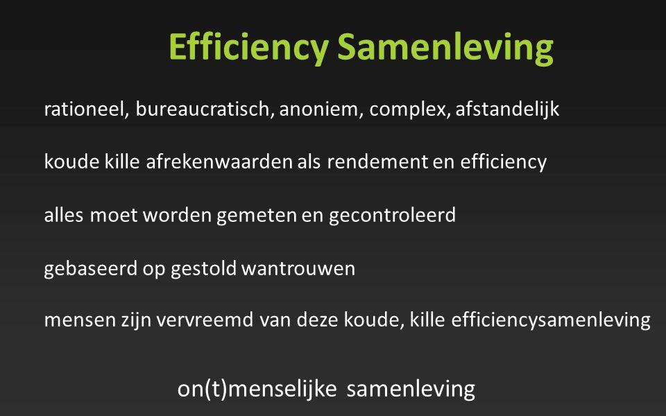 Efficiency Samenleving rationeel, bureaucratisch, anoniem, complex, afstandelijk koude kille afrekenwaarden als rendement en efficiency alles moet wor