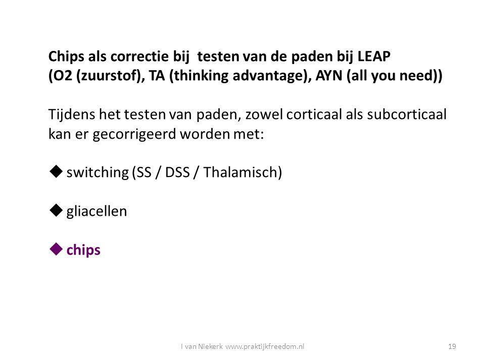 I van Niekerk www.praktijkfreedom.nl19 Chips als correctie bij testen van de paden bij LEAP (O2 (zuurstof), TA (thinking advantage), AYN (all you need