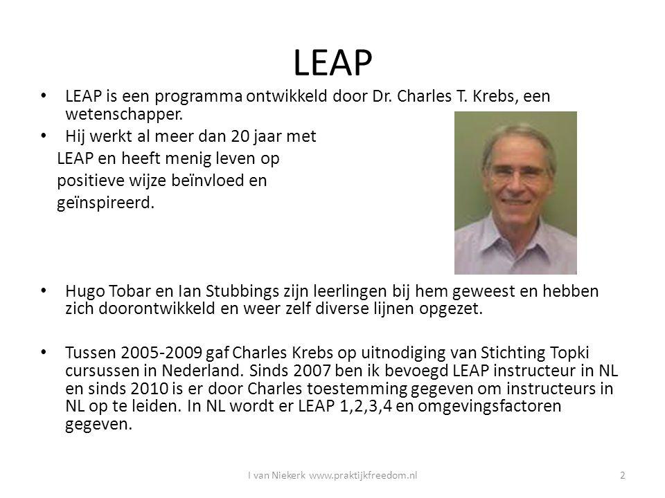 LEAP LEAP is een programma ontwikkeld door Dr. Charles T. Krebs, een wetenschapper. Hij werkt al meer dan 20 jaar met LEAP en heeft menig leven op pos