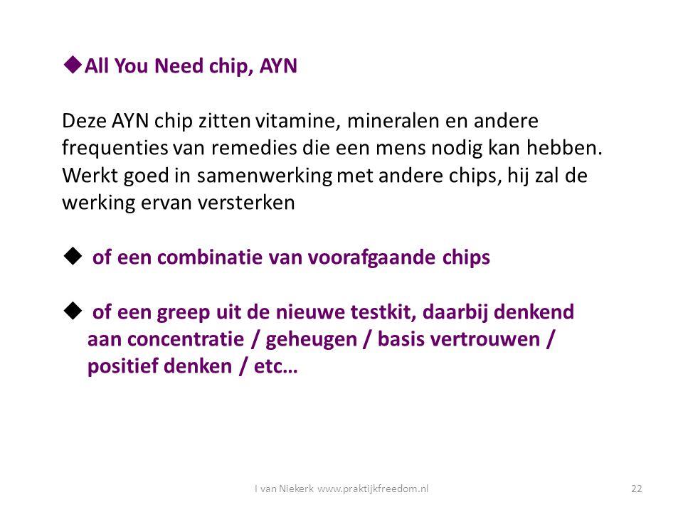 I van Niekerk www.praktijkfreedom.nl22  All You Need chip, AYN Deze AYN chip zitten vitamine, mineralen en andere frequenties van remedies die een me