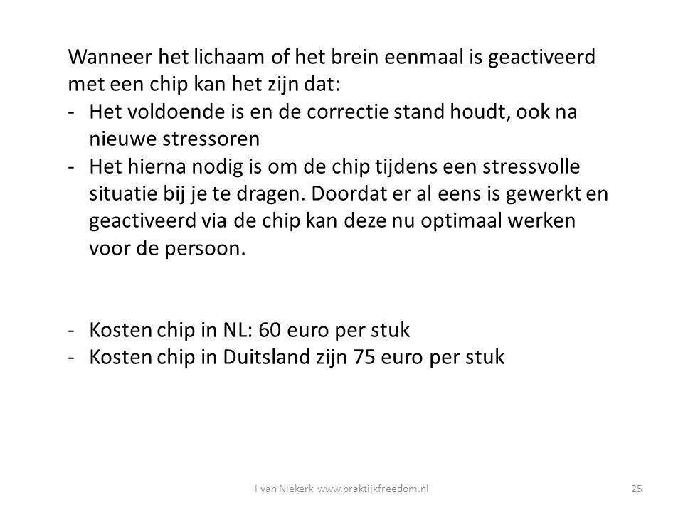 I van Niekerk www.praktijkfreedom.nl25 Wanneer het lichaam of het brein eenmaal is geactiveerd met een chip kan het zijn dat: -Het voldoende is en de