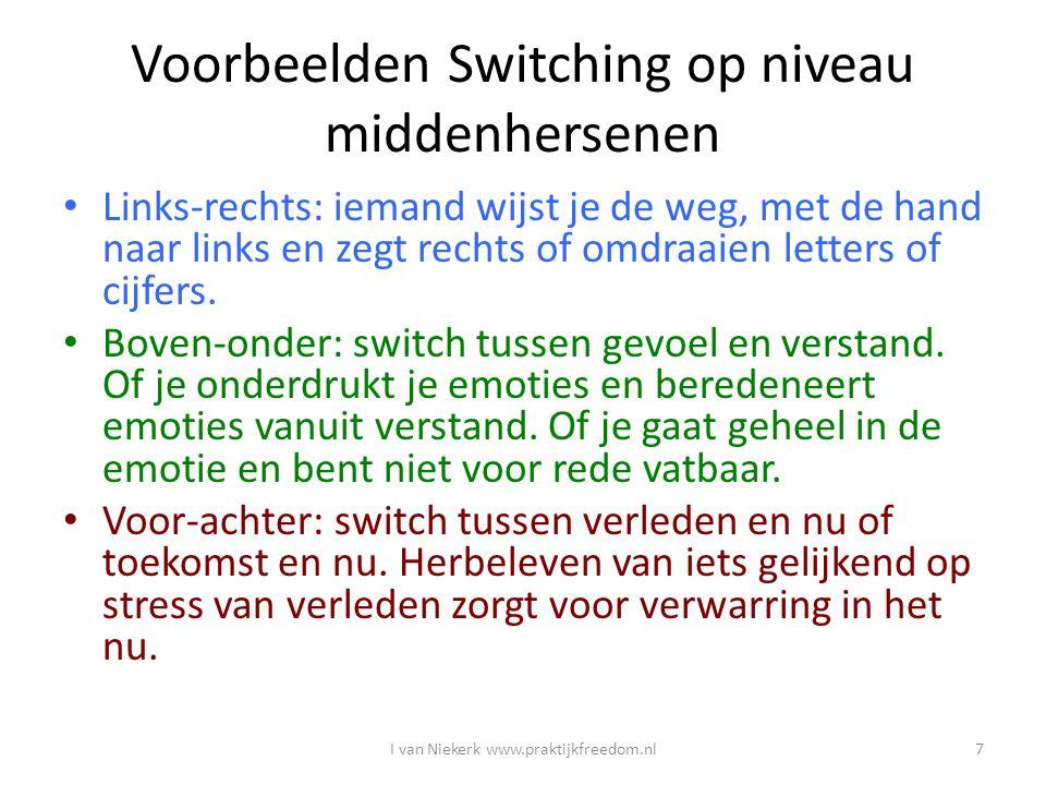 Voorbeelden Switching op niveau middenhersenen Links-rechts: iemand wijst je de weg, met de hand naar links en zegt rechts of omdraaien letters of cij