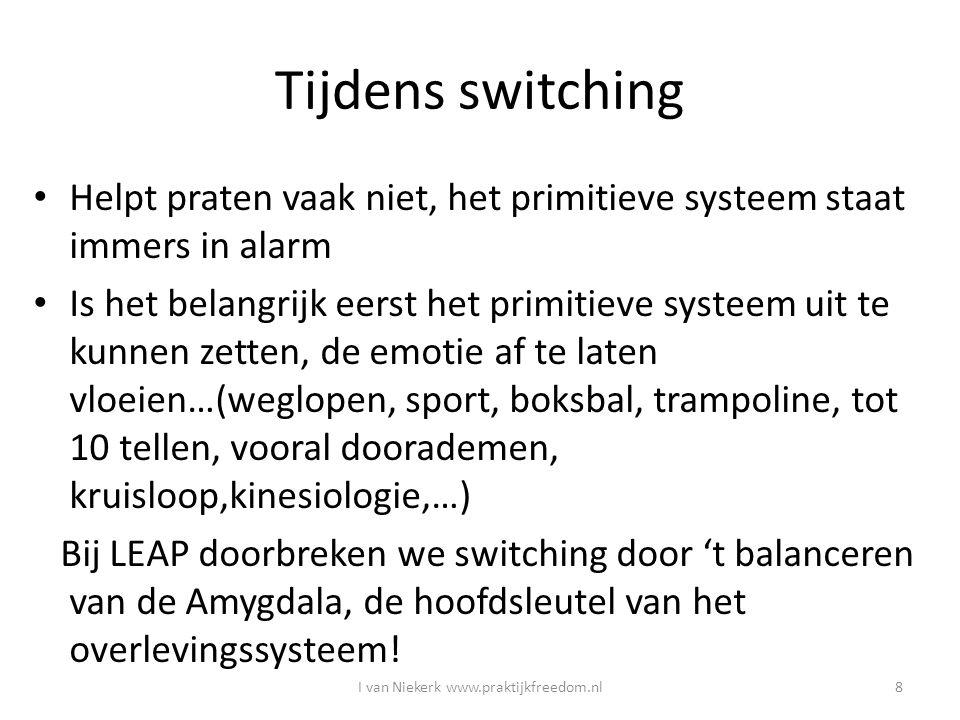 Tijdens switching Helpt praten vaak niet, het primitieve systeem staat immers in alarm Is het belangrijk eerst het primitieve systeem uit te kunnen ze